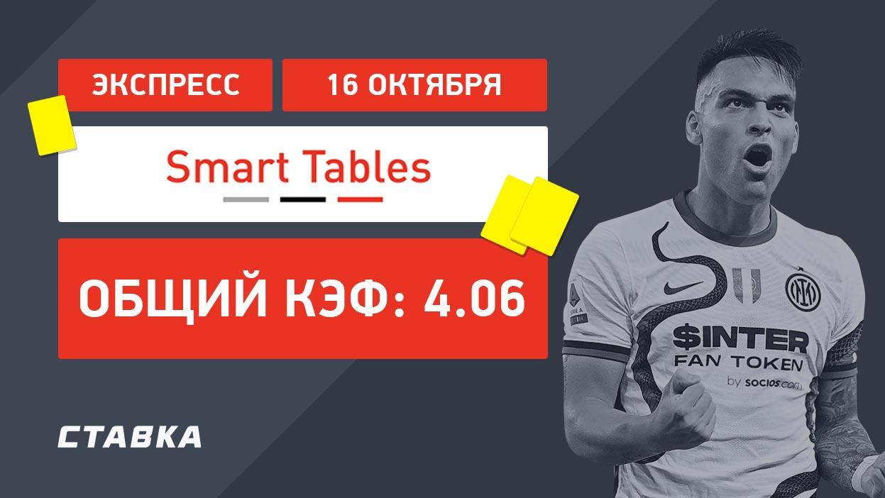 Экспресс от Smart Tables на 16 октября с коэффициентом 4.06