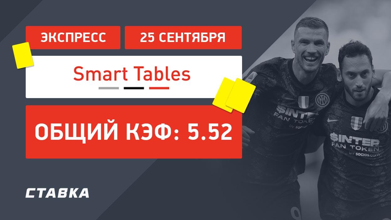Экспресс от Smart Tables на 25 сентября с коэффициентом 5.52