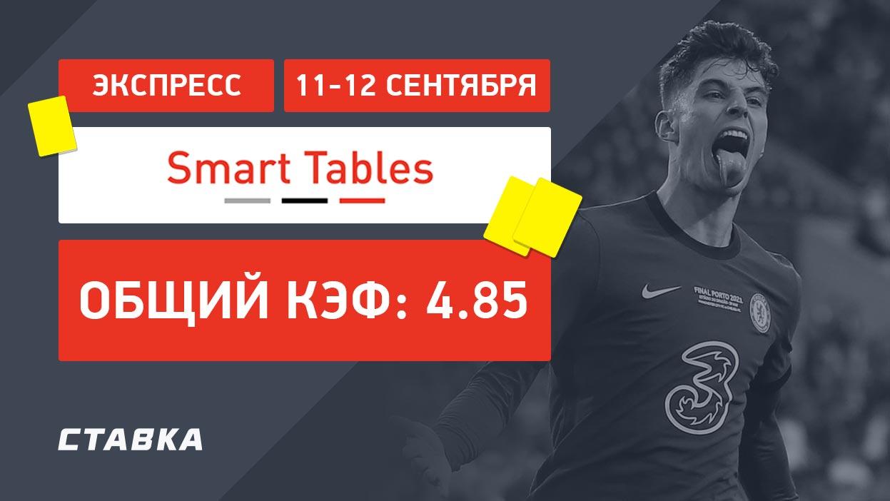 Экспресс от Smart Tables на уикэнд с коэффициентом 4.85