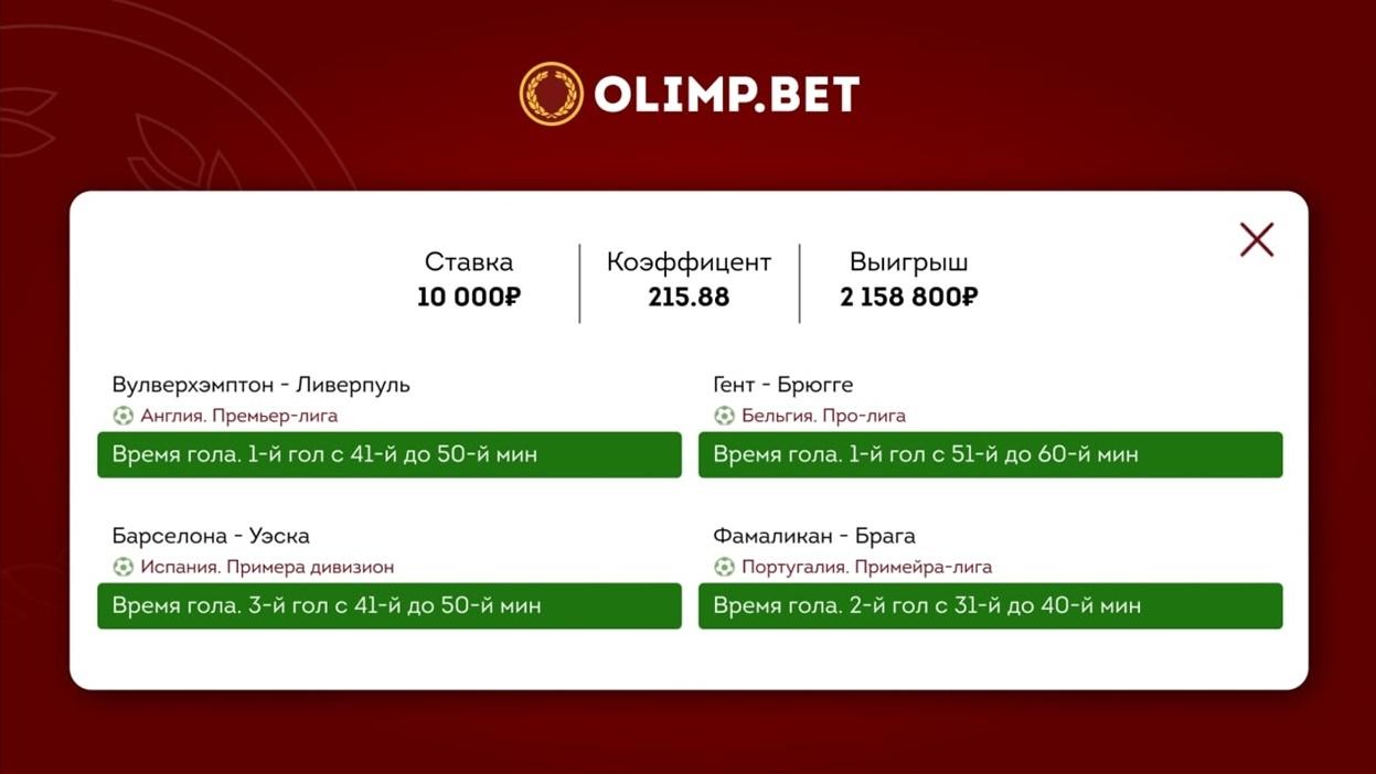 """Клиент """"Олимпа"""" выиграл больше 2 миллионов рублей с четырех ставок"""